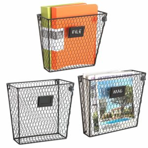 Wall Mounted Wire Baskets, Set of 3